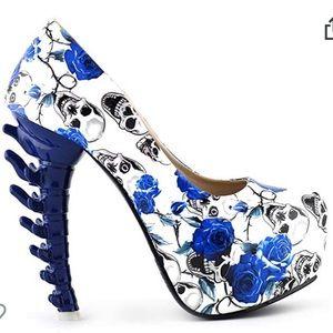 Show Story Blue Rose Boneyard Party Stilettos
